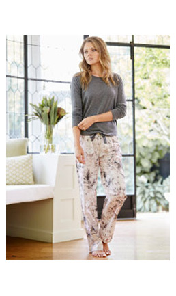 IMOGEN - CHARCOAL MARLE TOP WITH PINK COTTON PANT